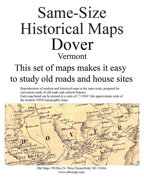 Set of 14 same size Historical Maps - Dover VT Old Map