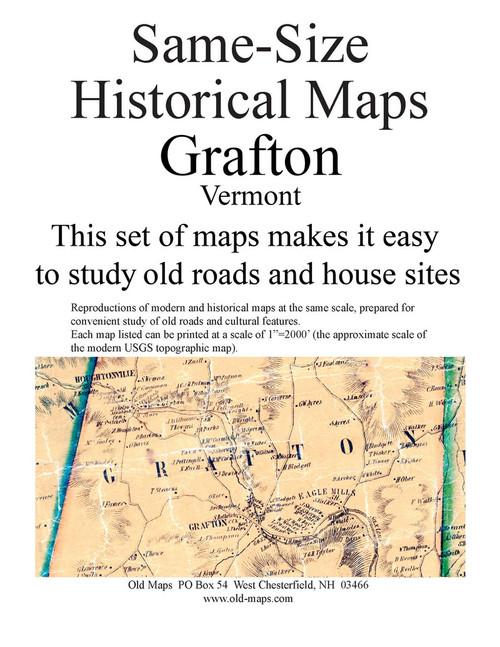 Set of 16 same size Historical Maps - Grafton VT Old Map