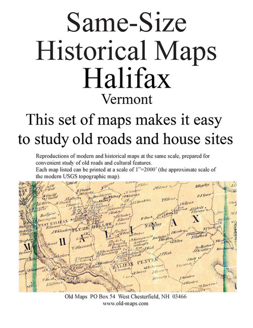 Set of 6 same size Historical Maps - Halifax VT Old Map