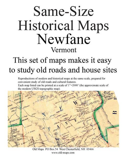 Set of 15 same size Historical Maps - Newfane VT Old Map