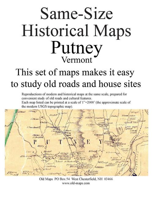 Set of 19 same size Historical Maps - Putney VT Old Map