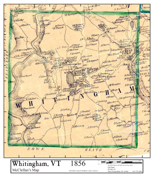 Set of 8 same size Historical Maps - Whitingham VT Old Map