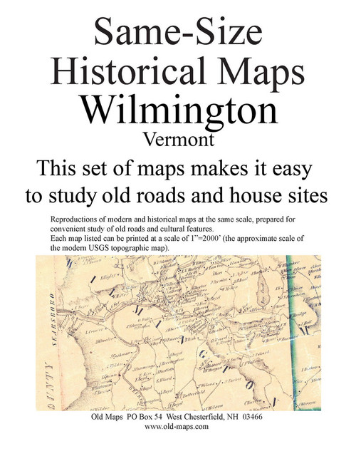 Set of 10 same size Historical Maps - Wilmington VT Old Map