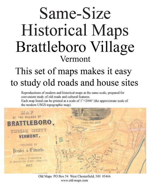 Set of 9 same size Historical Maps - Brattleboro Village VT Old Map