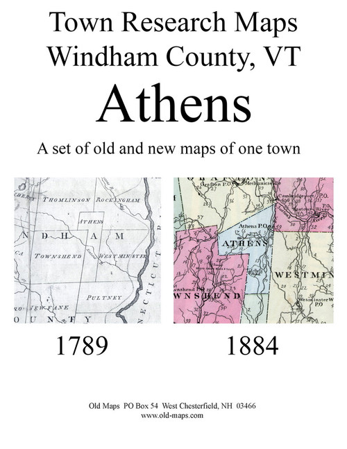 Set of 13 Historical and Modern Maps - Athens VT Old Map