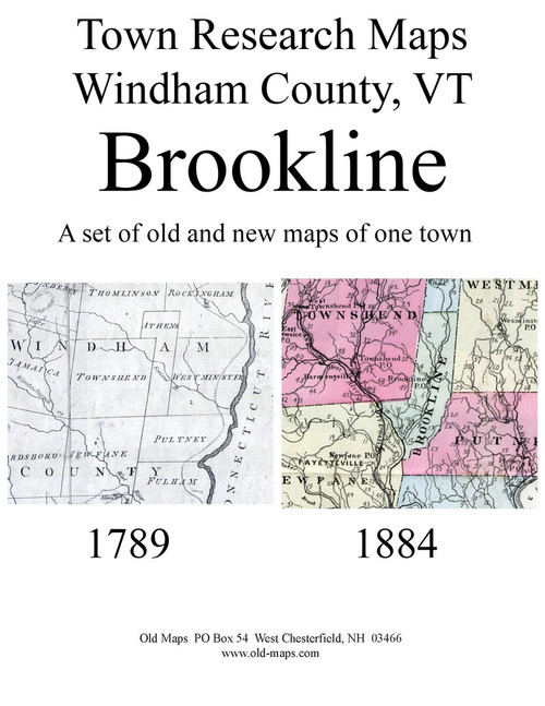 Set of 13 Historical and Modern Maps - Brookline VT Old Map