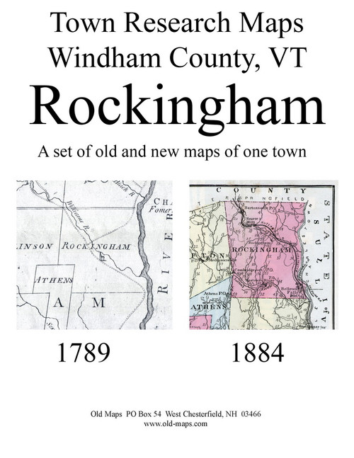 Set of 16 Historical and Modern Maps - Rockingham VT Old Map