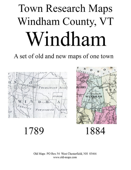 Set of 12 Historical and Modern Maps - Windham VT Old Map