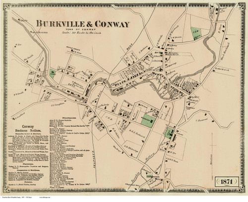 Conway 1871 - Old Village Map - Burkville & Conway