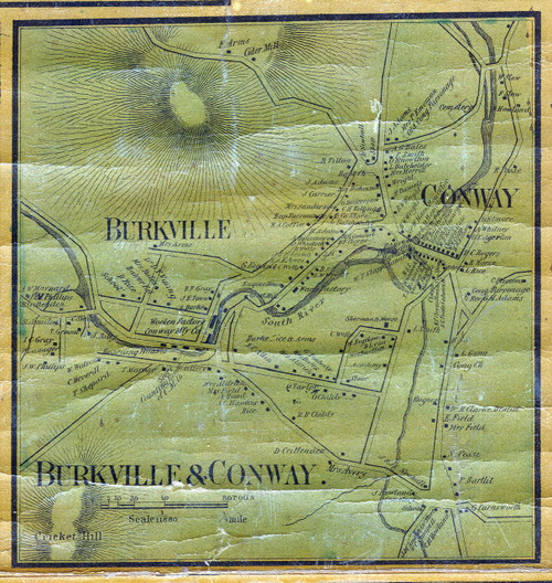 Conway 1858 - Old Village Map - Burkville & Conway