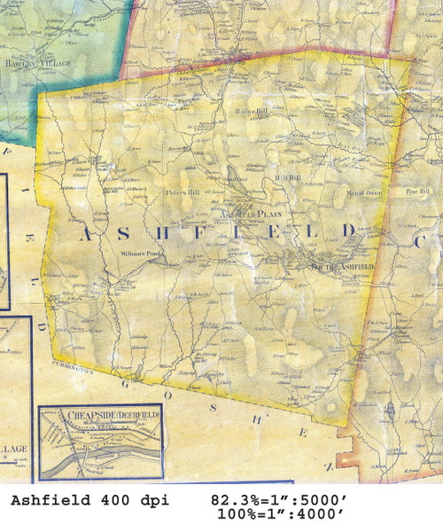 Ashfield 1858 - Old Town Map - from Wall Map