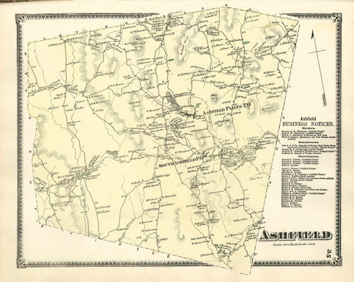 Ashfield 1871 - Old Town Map - from Atlas