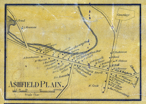 Ashfield Plain 1858 - Old Village Map - from Wall Map