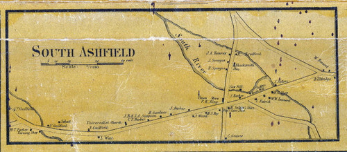 South Ashfield 1858 - Old Village Map - from Wall Map