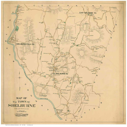 Shelburne 1895 - Old Town Map Reprint