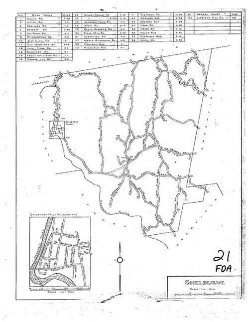 Shelburne ca 1930 - Old Town Map Reprint
