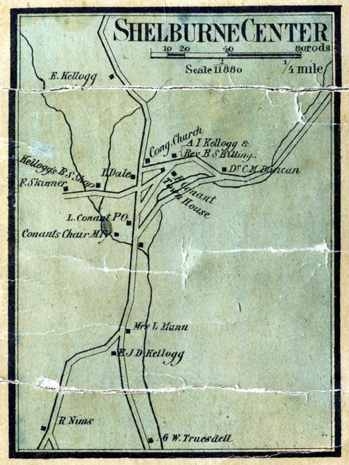 Shelburne Center 1858 - Old Town Map Reprint