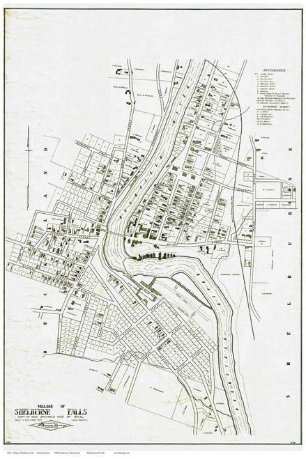 Shelburne Falls 1856 - Old Town Map Reprint