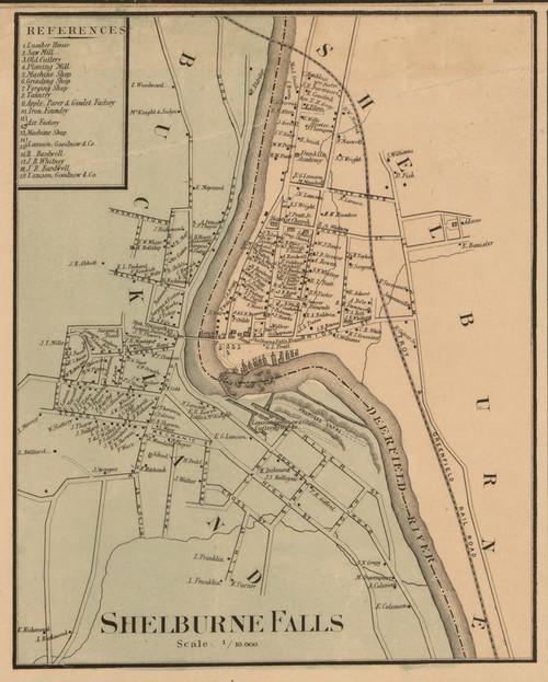 Shelburne Falls 1858 - Old Town Map Reprint