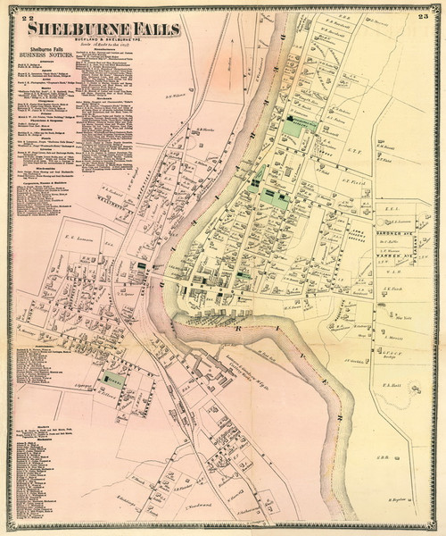 Shelburne Falls 1871 - Old Town Map Reprint