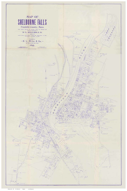 Shelburne Falls 1895 - Old Town Map Reprint