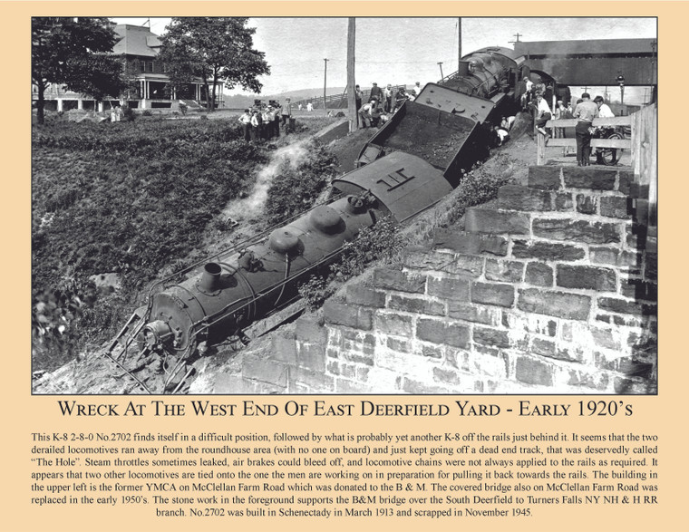 Wreck At The West End Of East Deerfield Yard - Early 1920's - September 2020 Railroad Calendar Picture