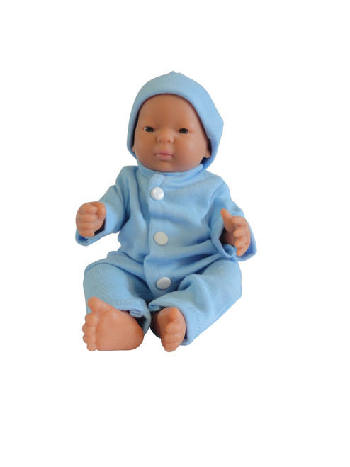 Little Tiny Doll Blue Sleep Suit and Hat
