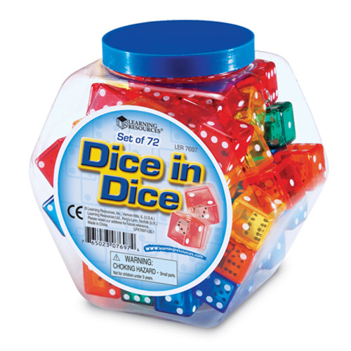6 Sided Dice in Dice - Tub of 72