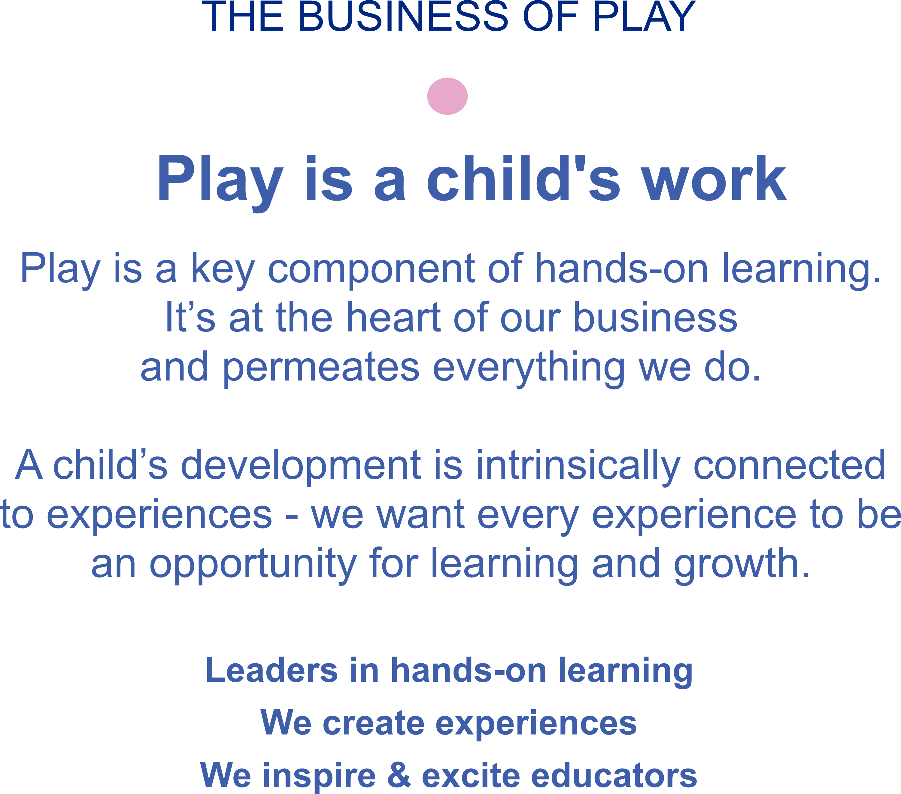 The Business of Play - play is a child's work.  Play is a component of hands-on learning. It's at the heart of what we do. A child's development is intrinsically connected to experiences - we want every experience to be an opportunity for learning & growth.  Leaders in hands-on learning. We create experiences. We inspire & excite educators.