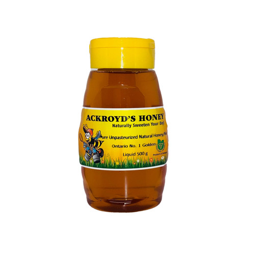 500g of 100% Pure Unpasteurized Natural Golden #1 Ontario Honey in a squeeze bottle