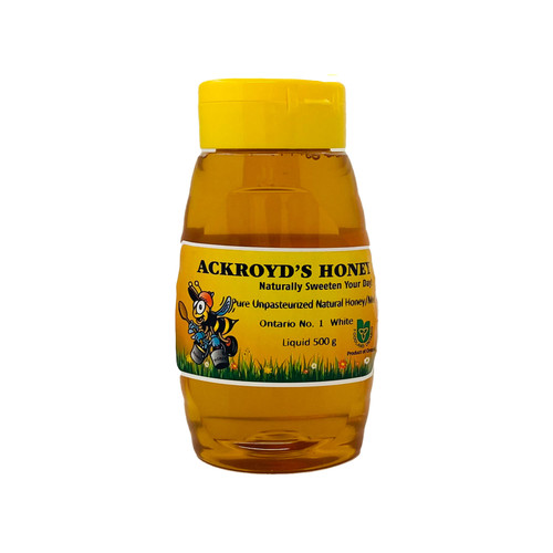 500g of 100% Pure Unpasteurized Natural Ontario #1 White Honey in plastic squeeze container.