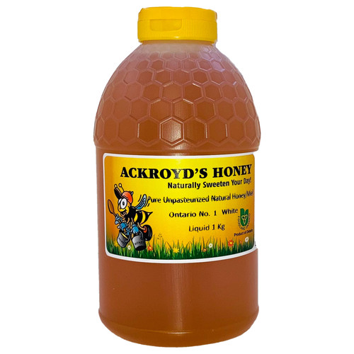 1 Kg of 100% Pure Unpasteurized Natural Ontario #1 White Honey in plastic container.