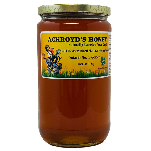 1 Kg of 100% Pure Unpasteurized Natural Ontario #1 Golden Honey in glass jar.