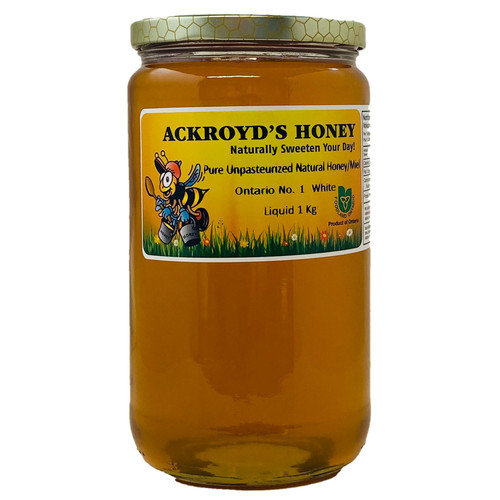 1 Kg of 100% Pure Unpasteurized Natural Ontario #1 White Honey in glass jar.