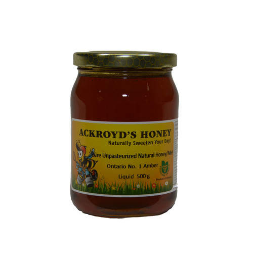 500g of 100% Pure Unpasteurized Natural Ontario #1 Golden Honey in glass jar.