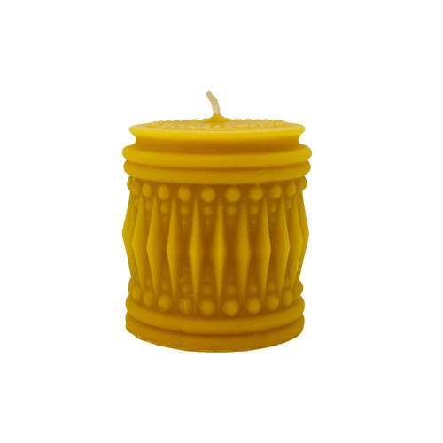Crystal Drum Beeswax Candle