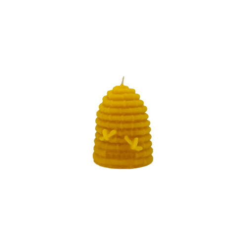 Small Skep with bees beeswax candle
