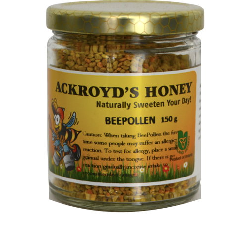 150g of 100% Pure Bee Pollen in a glass jar.