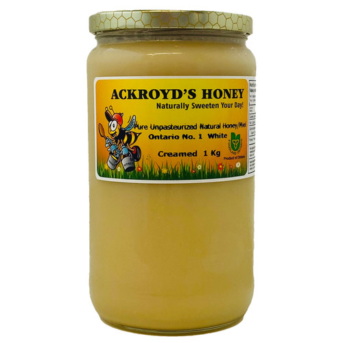 1Kg of 100% Pure Unpasteurized Natural Ontario #1 White Creamed Honey in glass jar