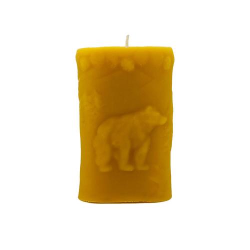 Bear an Deer Pillar Beeswax Candle Bear side