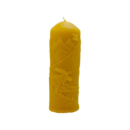 Moose In Rockies Pillar Beeswax Candle