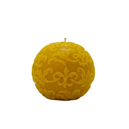 Fleur de Lys Ball Beeswax Candle