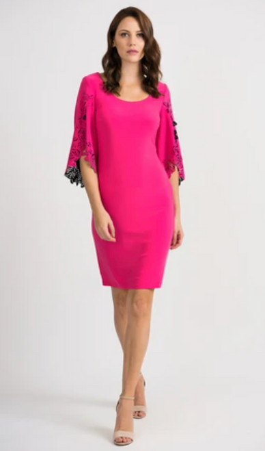 Joseph Ribkoff Pink Dress Cut print sleeve