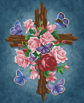 Flower Cross Diamond Painting Kit