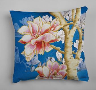 Magnolias On Blue 2 Pillowcase Diamond Painting Kit