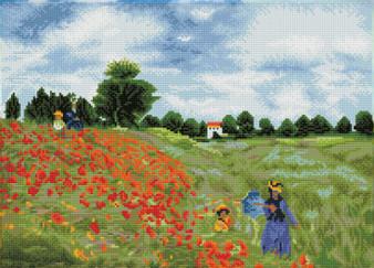 Poppy Fields (après Monet) Diamond Painting Kit