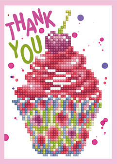Cupcake Thank You Greeting Card Diamond Painting Kit