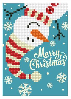 Merry Christmas Snowman Greeting Card Diamond Painting Kit