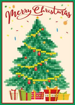 Merry Christmas Tree Greeting Card Diamond Painting Kit