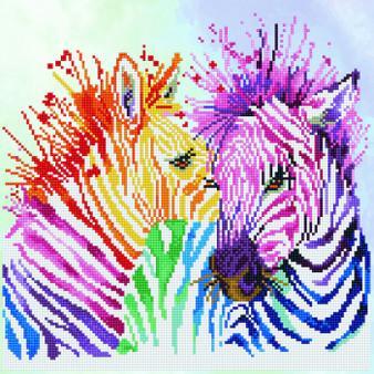 Rainbow Zebras Diamond Painting Kit